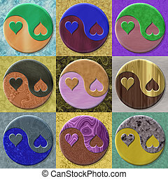 Set of yin-yang heart symbol generated textures
