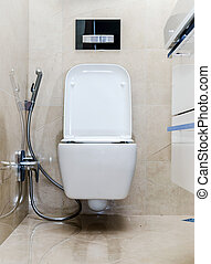 New white toilet bowl in a bathroom