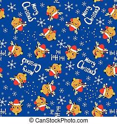 Christmas Reindeer Pattern - Seamless Christmas Reindeer...