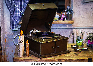 Old vintage gramophone, music audio device of XX century