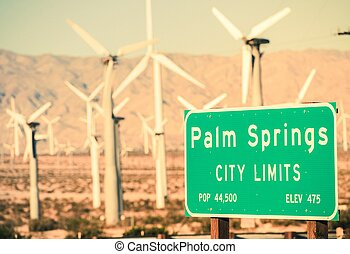 Palm Springs City Limits Highway Sign and Wind Turbines in...