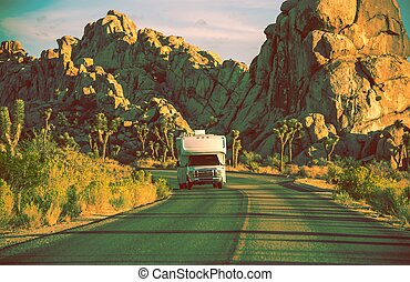 Camper in California. RVing in Souther California. Joshua...