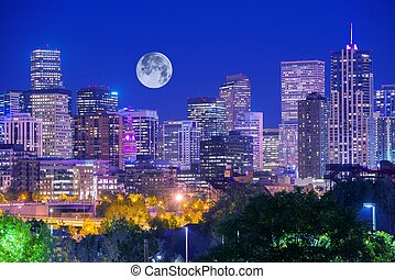 Denver Colorado at Night Denver Downtown Skyline and the...