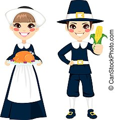 Thanksgiving Pilgrim Children - Two cute little children in...