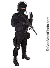 special forces sodier in black uniform - special forces...
