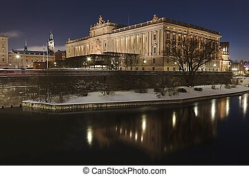 Stockholm - The Swedish Parliament by night in Stockholm