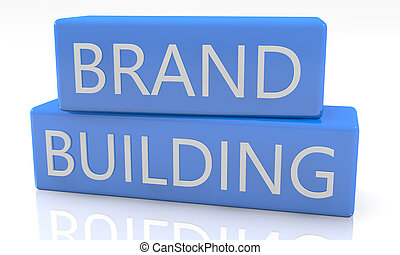 Brand Building - 3d render blue box with text Brand Building...