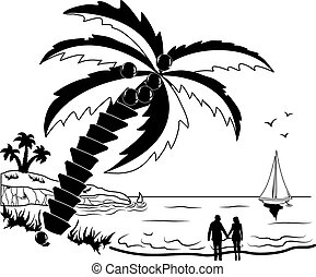Couple at tropical beach with palm trees