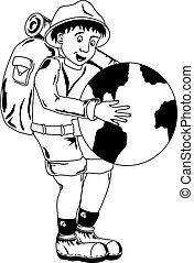 Traveler - Illustration of smiling traveler holding a globe