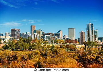 Summer in Denver Colorado. Denver Summer Skyline Panorama....