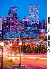 Denver Colorado Rush. Busy Denver Streets, Speer Boulevard...