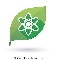 Green leaf icon with an atom
