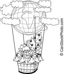 Christmas hot air balloon with Santa Claus - Santa Claus in...