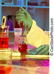 researchers work in modern scientific lab. Preparation of...