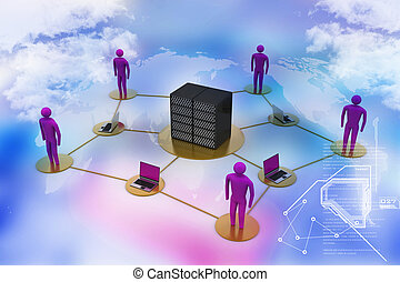 Human with laptop with big server Net Work firewall 3D Image...