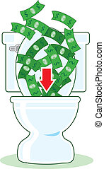 Money down the Toilet - Lots of dollar bills going down the...