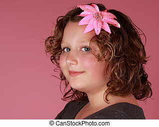 preteen girl - portrait of a preteen girl, pink background