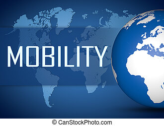Mobility concept with globe on blue background