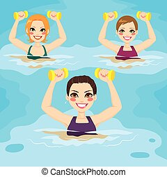 Aqua Gym Exercises - Small group of women making aqua gym...