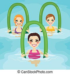 Aqua Gym Roller - Small group of women making aqua gym...