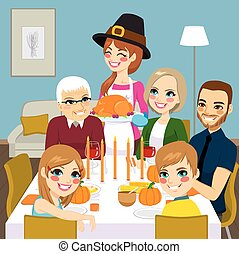 Thanksgiving Family Dinner - Happy family having...