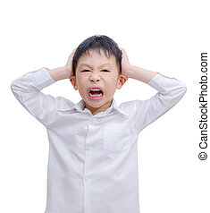 Angry little boy isolated on a white background