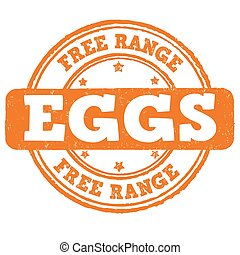 Free range stamp - Free range grunge rubber stamp on white...