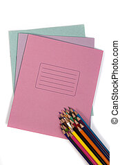 Notebook with set pencil - Set of colored pencils in a stack...