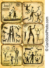 Cupholder with rock paintings - Six coasters for cups with...