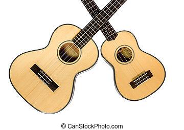 Two Hawaiian Ukulele - Two Hawaiian ukulele with necks...
