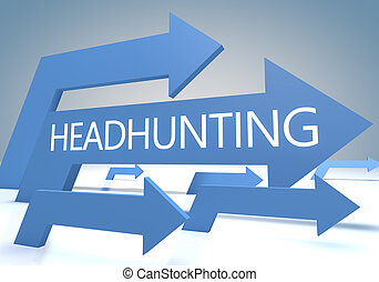 Headhunting render concept with blue arrows on a bluegrey...
