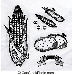 Vegetables corn, peas, potatoes vintage