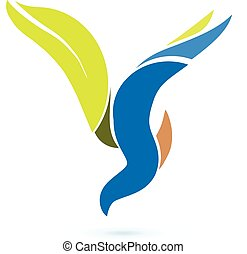 Vector bird flying symbol logo