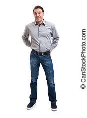 Happy smiling young man standing full length isolated on...