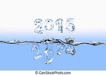 End of year 2014 splash - Water surface with the numbers of...