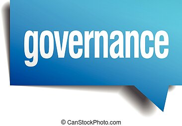 governance blue 3d realistic paper speech bubble