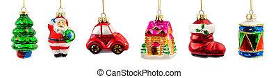 Conjunto, de, navidad, decoraciones,