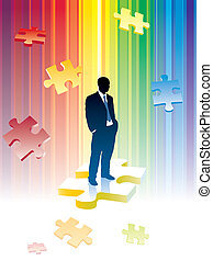 Jigsaw puzzle - Successful businessman is standing on a...