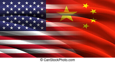 USA and China. Relations between two countries. Conceptual...