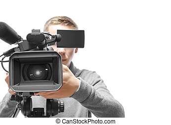 Video camera operator isolated on white background