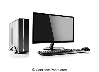 Computer - Desktop computer and keyboard and mouse on white
