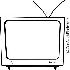 Big TV - There is a big TV with an antenna and with buttons.