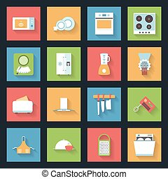 Kitchen flat icons set vector graphic illustration design