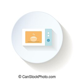 Microwave oven flat icon vector graphic illustration design