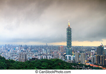 Taipei's City Skyline at sunset with the famous Taipei 101...