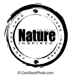 nature stamp - black and white abstract nature icon with ink...