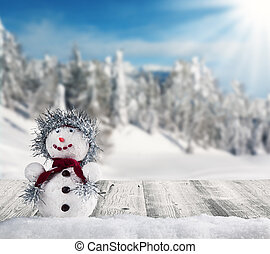Winter snowy scenery with snow man - Winter holiday happy...