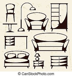 Interior icon set with furniture in retro style