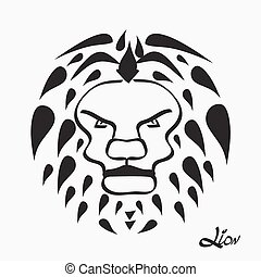 Lion head - vector illustration isolated on white bacground