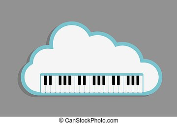 cloud Piano keys - cloud music, Piano Keyboard with cloud as...